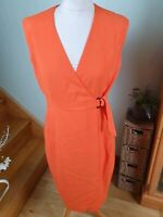LK Bennett Trista orange vermilion wrap dress, size 10UK
