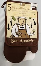 5pc KITCHEN SET:2 POT HOLDERS,2 TOWELS & 1 OVEN MITT, FAT CHEF BON APPETIT,br,BH