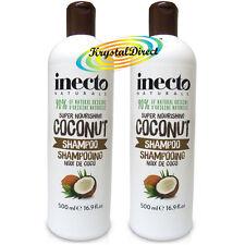 2x Inecto Coconut Hair SHAMPOO Super Nourishing 500ml / 16.9floz