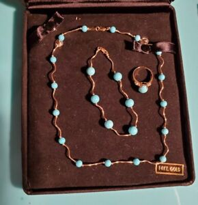 14k Turquoise Ring, Bracelet And Necklace Set In Box Ring Size 6