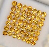 NATURAL CITRINE 3 MM ROUND CUT YELLOW FACETED LOOSE CALIBRATED AAA GEMSTONE LOT
