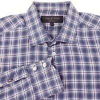 Rag & Bone Men's Long Sleeve Lightweight Button Dress Shirt Blue Plaid Size 16.5