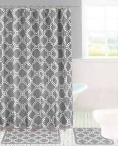 15PC Bathroom Bath Rugs Mats and Shower Curtain Set 2-Tone Mix Color Honey