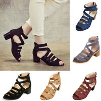 Women Hollow Cut Out Peep Toe Mid Heel Summer Sandals Zipper Dress Shoes Size