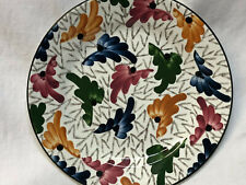 "GES GESCH SALAD DESSERT PLATE 7"" PINK ORANGE BLUE GREEN FLORAL BLACK TRIM"