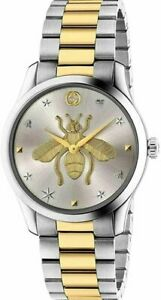 Womens Gucci G-Timeless Iconic Bee Two Tone Silver Gold Watch - YA1264131