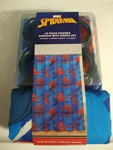 Marvel Spiderman Fabric Shower Curtain With Hooks Set 12 Hooks
