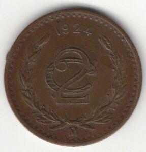 HIGHER GRADE 1924 MEXICO 2 CENTAVOS