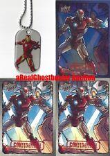 Iron Man Dog Tag + 2 Base Cards & 1 Foil Card - Upper Deck Marvel Dossier