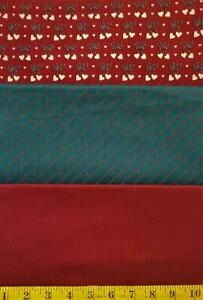 3 Pc Bundle Maroon/.Dk Green Country Christmas Cottons - Bows Stripes Hearts Dot
