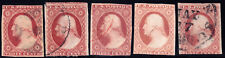 #11A & 11 - 3 Cent 1851-7, lot of 5, unplated, various colors, recuts, cancels
