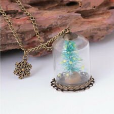 Christmas Tree Glass Cover Glow In The Dark Wishing Fashion Pendant Necklace