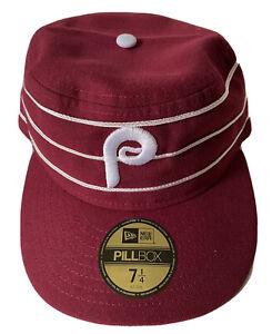 NEW ERA PHILADELPHIA PHILLIES 7 1/4 PILLBOX RETRO HAT $35 DS MAROON LIMITED MLB