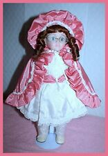 """*New* Seymour Mann 17"""" Merri Porcelain Doll W/ Stand Little Pink Riding Hood"""