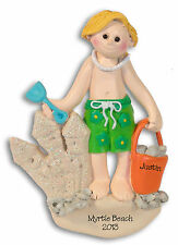 Vacation Beach Boy Personalized  Ornament  Hand Painted RESIN by Deb & Co