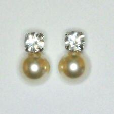 Tolle Stecker mit Perle 10,00 mm und je 1 Zirkonia 6,00 mm versilbert  1 Paar