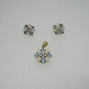 10k  Yellow Gold Opal and Blue Topaz Earrings Pendant Set