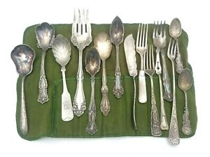 Lot of 15 Fine Assorted Antique Silverplate Flatware Collectible Pieces Branded