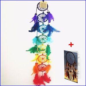 Dream Catchers Large Long 7 Ring Rainbow Kids Room Hanging Bad Dreamcatchers