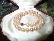 Beautiful 10-11 natural  creamy pink freshwater pearl necklace