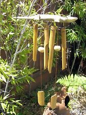 Gecko Hand Carved Wood And Bamboo Wind Chime