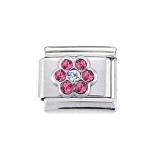 June Pink flower Italian Charm - fits 9mm classic Italian charm bracelets