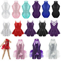 Girls Modern Jazz Dance Dress Kids Ballet Sequins Leotard Tutu Dancewear Costume