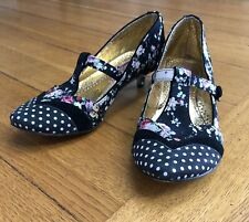 IRREGULAR CHOICE Floral Polka Dots 'In My Dreams' Kitten Heel T-Bar Shoes UK 4.5