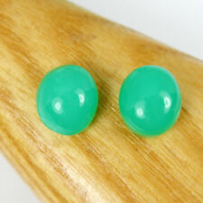 8.91 carats Matching Pair Oval 10x9mm Opaque Australian Chrysoprase Gemstone