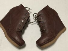 Seychelles Womens Brown Quilted Wedge Ankle Boot Size 8 1/2
