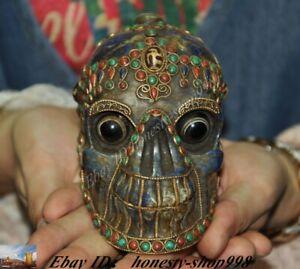 Old Nepal lapis lazuli inlay Agate Turquoise coral cranium head Skull Statue