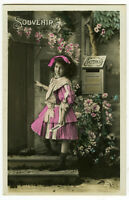 c 1910 Antique Pretty LITTLE FRENCH GIRL tinted photo postcard