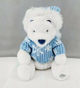 "Winnie Pooh White Plush Bear Disney Store Exclusive Stuffed Snowflake 13"" Tall"