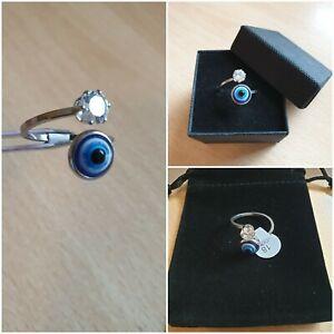 925 Silver Plated S/Steel Evil Eye Ring CZ Turkish/Greek Nazar Women Ladies 🇬🇧