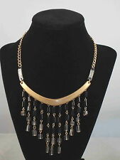 Kenneth Cole NY Two Tone DECO GLAM Clear Black Beaded Fringe Frontal Necklace