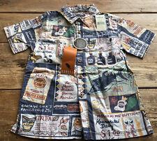 Kids Kahala Local Boy Boys Hawaiian Shirt Maui Tiki Tea Poki XS New NWT Size 4-6
