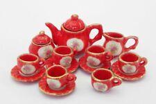 "Dollhouse Miniature ""Oversized"" Orange/Red Floral Medallion Tea Set"