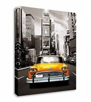 Water Colour Effect New York Taxi Cab Yellow Canvas Wall Art Picture Print