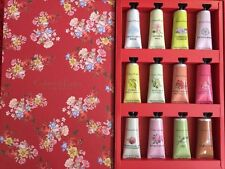 CRABTREE AND EVELYN HAND THERAPY RED SET OF 12 HAND CREAMS AND KEY BNIB