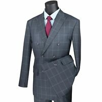 VINCI Men's Gray Windowpane Double Breasted 6 Button Modern Fit Suit NEW