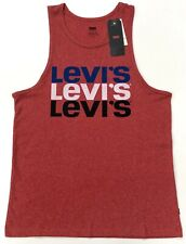 Levi's Men's Vest Batwing Graphic Logo Tang Top In Red