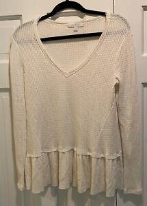 Anthropologie Eri + Ali Peplum Waffle Knit Top Ivory Long Sleeve Shirt Size S