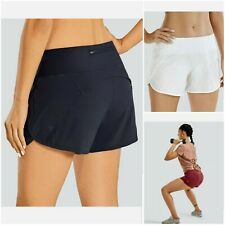 CRZ YOGA Women's Quick-Dry Athletic Sports Running Workout Shorts w/ Zip Pocket