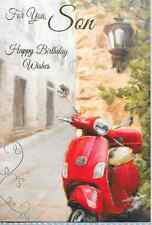 FOR YOU SON HAPPY BIRTHDAY WISHES,RED  MOPED,SCOOTER (N1).