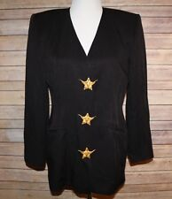 90s 80s Vintage Long Black Blazer Star Lonestar Texas Western Criscione M