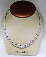 "3.50 Carat Diamond Ladies 18k White Gold Choker Necklace 17"""
