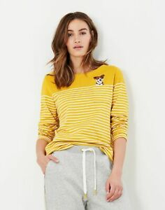 Joules Womens Harbour Embroidered Long Sleeve Jersey Top - Gold Cream Stripe