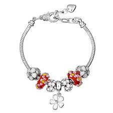NEW MC Silver White Flower Red Murano Beads European Charm Heart Clasp Bracelet