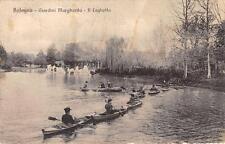 3933) BOLOGNA IL LAGHETTO DEI GIARDINI MARGHERITA PIENO DI CANOE. VG NEL 1919.