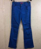 Alice + Olivia Flare Leg Pants Linen Blend Blue Women's Size 4